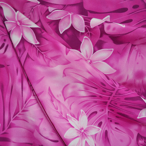 Tropical Floral Poly Crepe Fuchsia