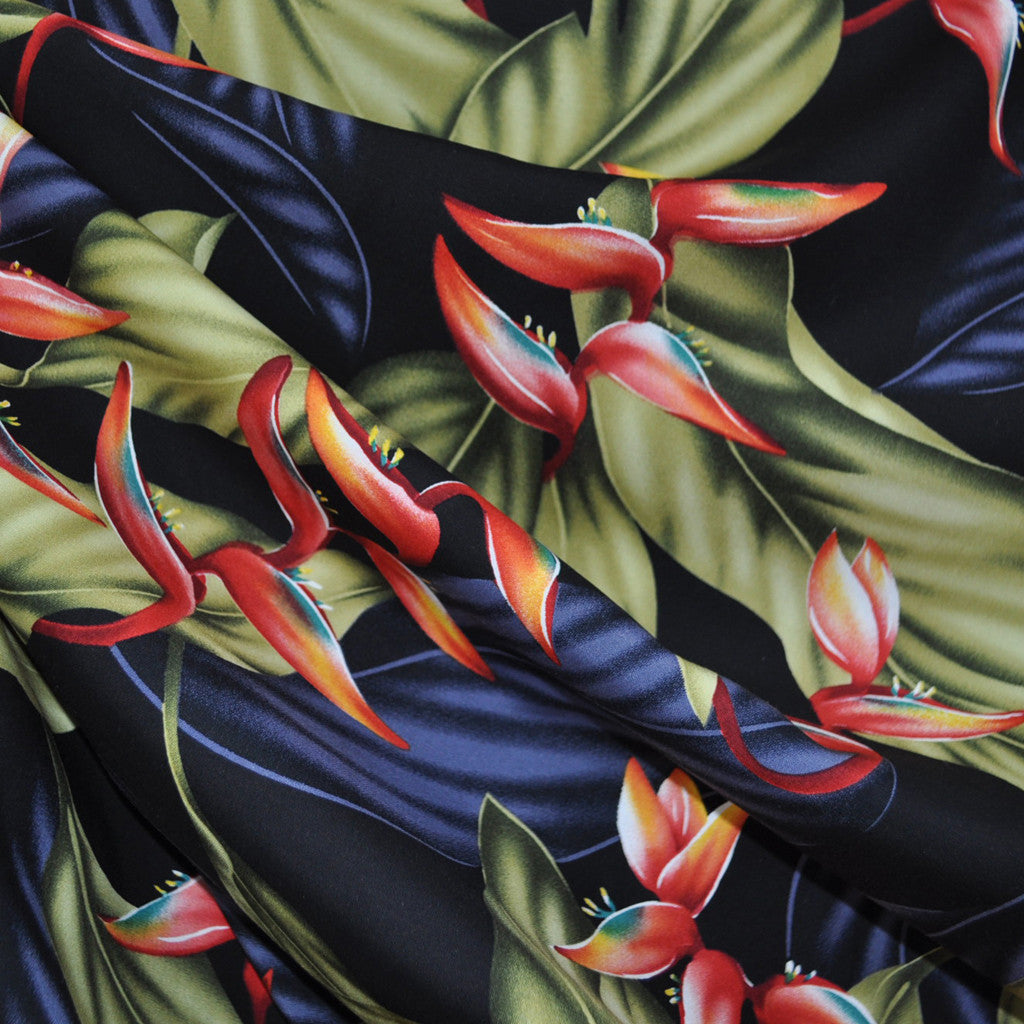 Classic Tropical Floral Rayon Shirting Black/Multi - Sold Out - Style Maker Fabrics