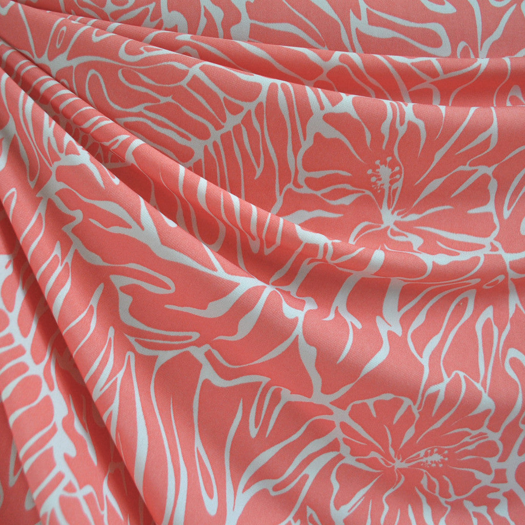Tonal Hibiscus ITY Knit Coral/Cream - Fabric - Style Maker Fabrics