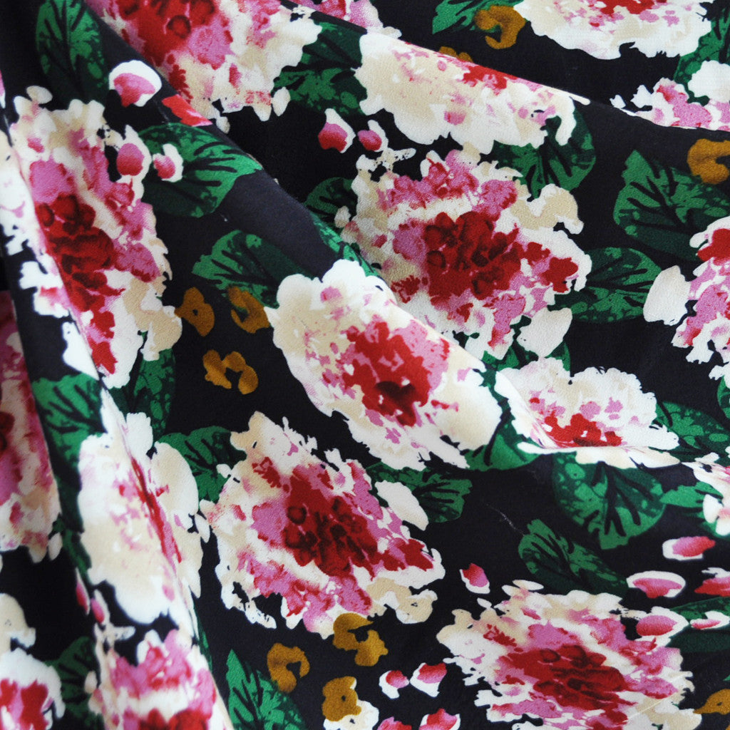 Romantic Blooms Rayon Crepe Rouge - Sold Out - Style Maker Fabrics