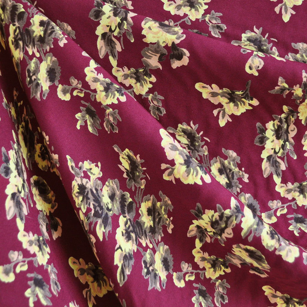 Floral Rayon Crepe Merlot - Sold Out - Style Maker Fabrics