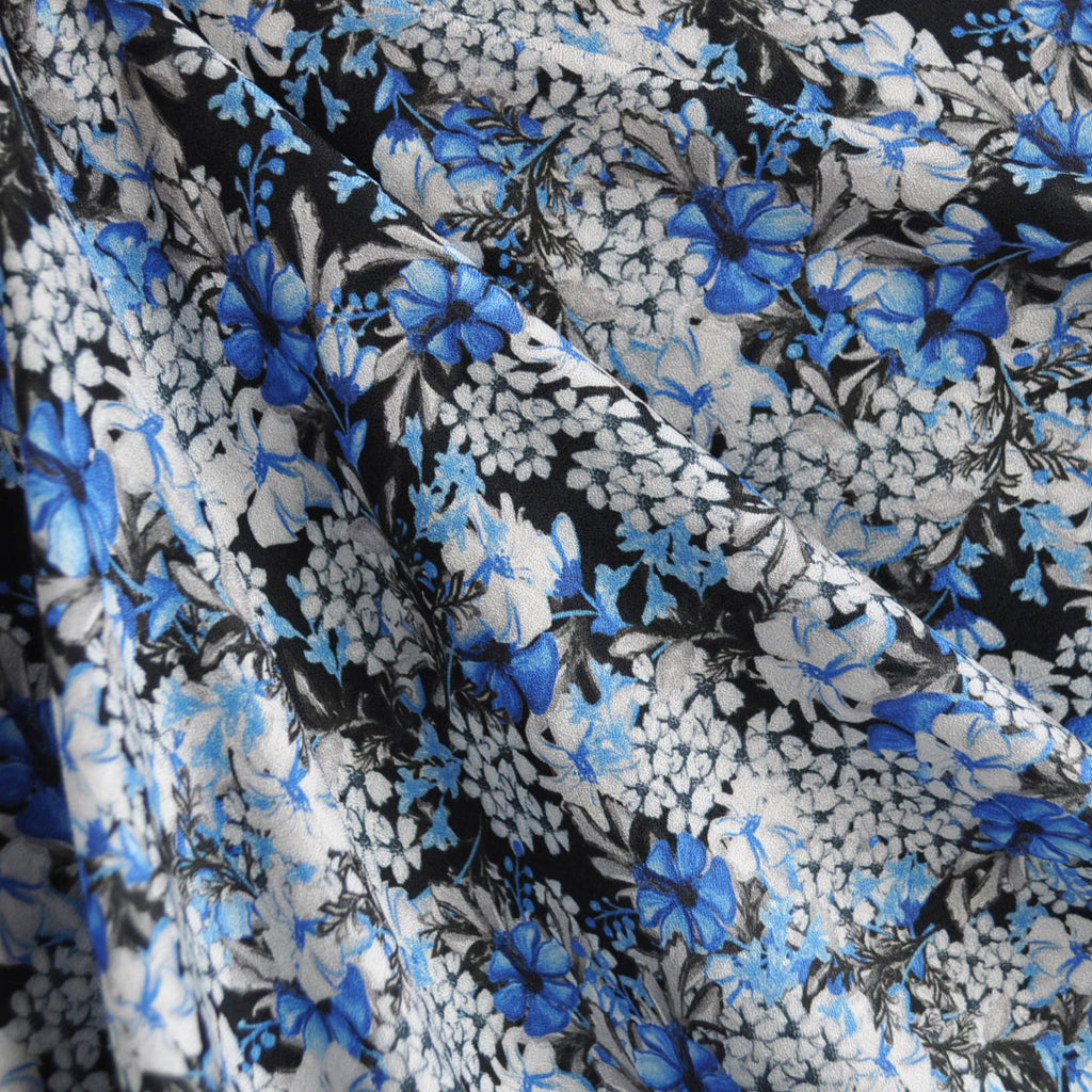 Abstract Floral Rayon Crepe Black/Blue - Fabric - Style Maker Fabrics