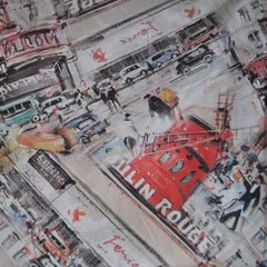 Watercolor Moulin Rouge Linen Print Multi - Fabric - Style Maker Fabrics