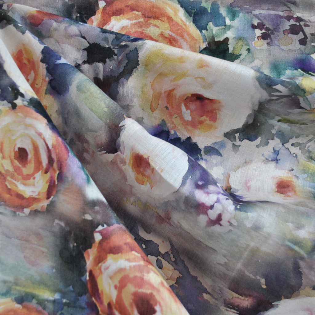 Watercolor Floral Linen Print Multi - Sold Out - Style Maker Fabrics