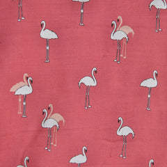 Flamingo Squad Rayon Voile Coral - Fabric - Style Maker Fabrics