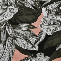 Tropical Leaf Stretch Sateen Coral/Olive/Black - Sold Out - Style Maker Fabrics