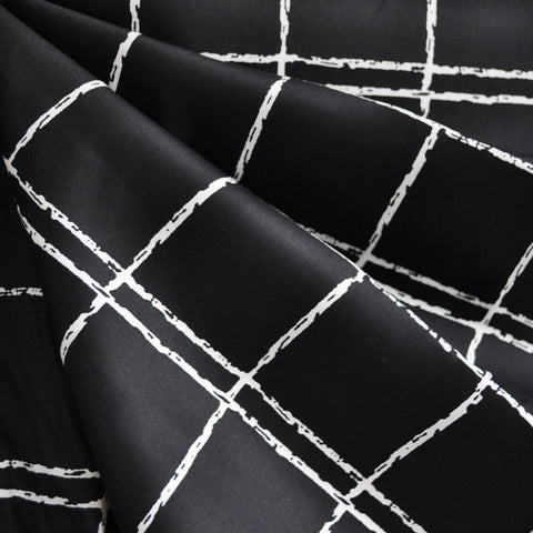 Windowpane Stretch Sateen Black/White