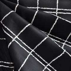 Windowpane Stretch Sateen Black/White - Fabric - Style Maker Fabrics