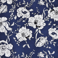Botanical Cotton Lawn Print Navy/White - Sold Out - Style Maker Fabrics
