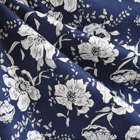 Botanical Cotton Lawn Print Navy/White