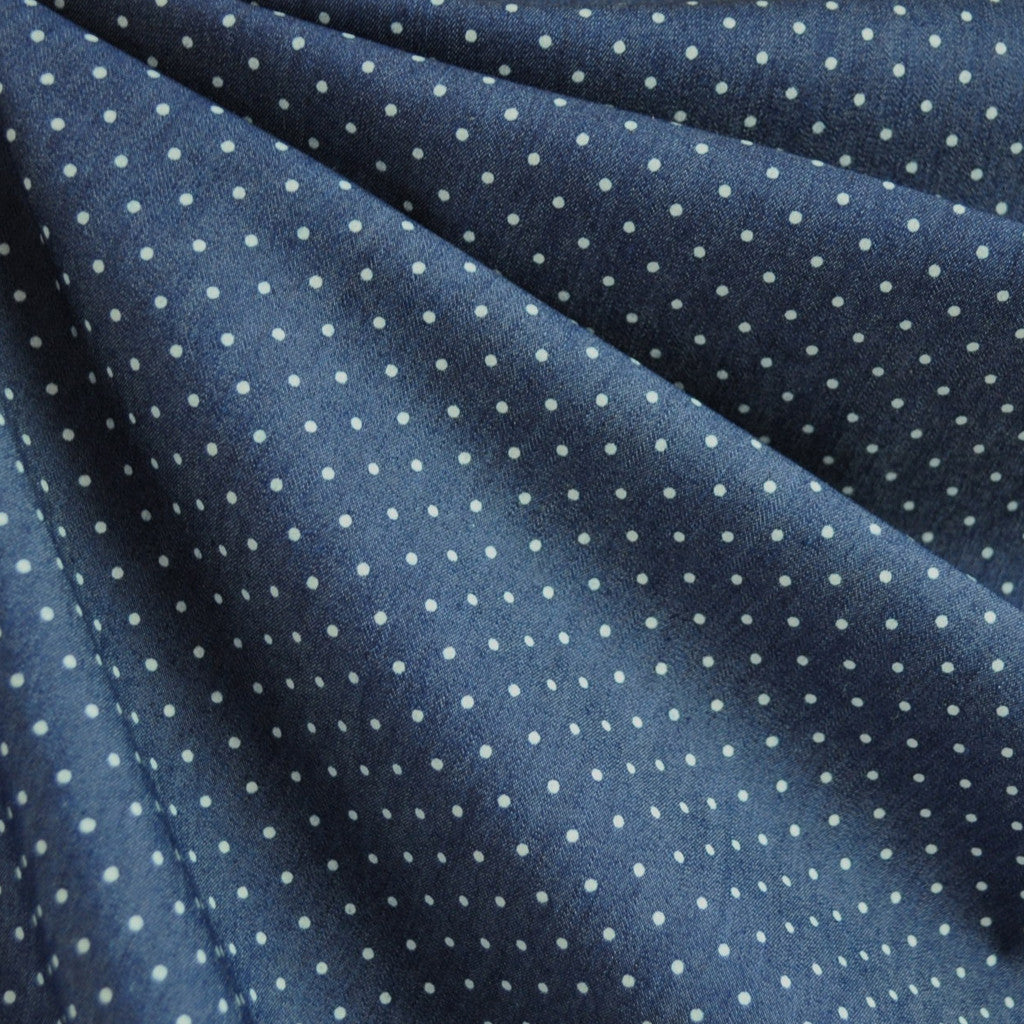 Denim Stretch Shirting Dot Indigo - Sold Out - Style Maker Fabrics
