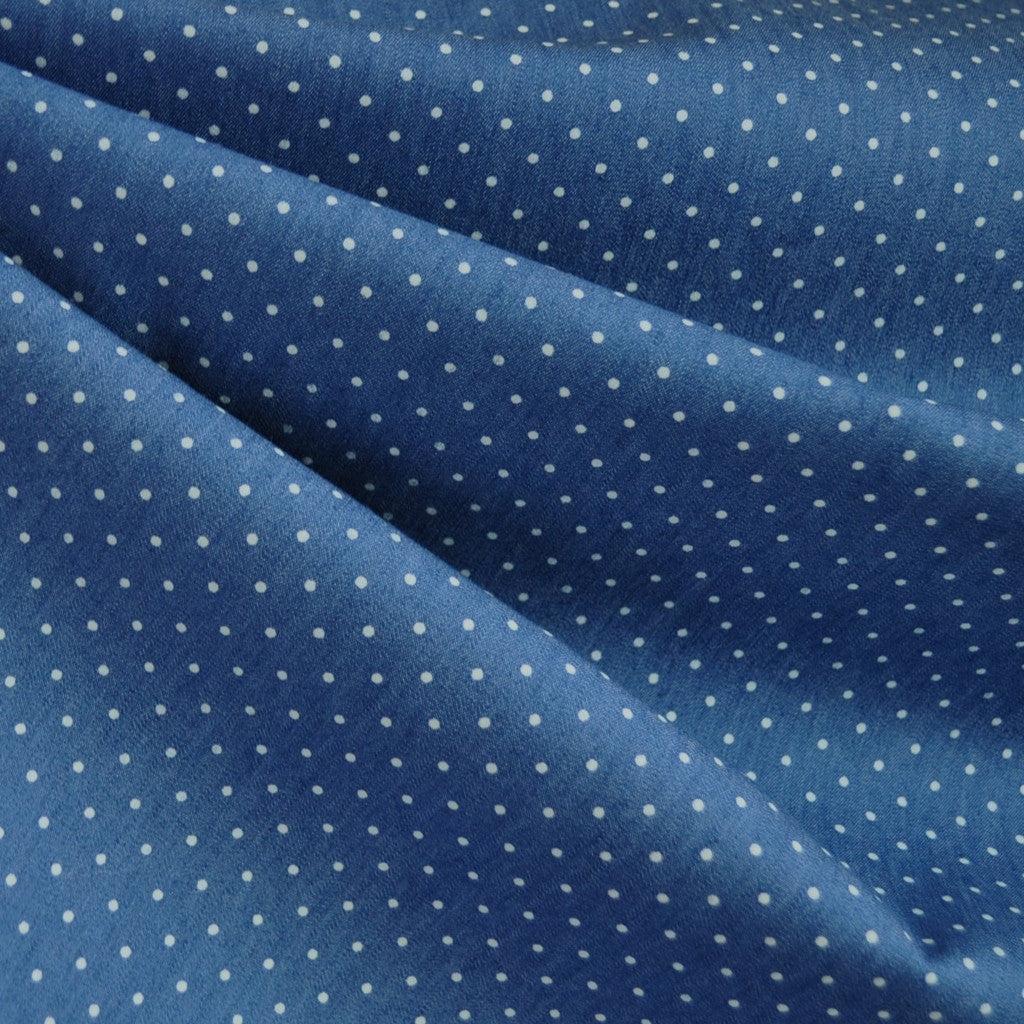 Denim Stretch Shirting Dot Blue SY - Sold Out - Style Maker Fabrics