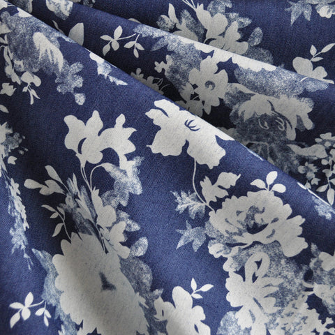 Floral Stretch Denim Print Blue