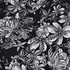 Tropical Floral Rayon Crepe Black/White - Sold Out - Style Maker Fabrics