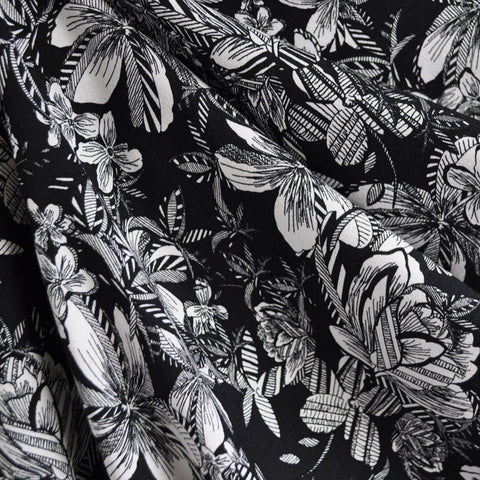 Tropical Floral Print Rayon Crepe Black/White