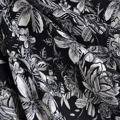 Tropical Floral Print Rayon Crepe Black/White SY - Sold Out - Style Maker Fabrics