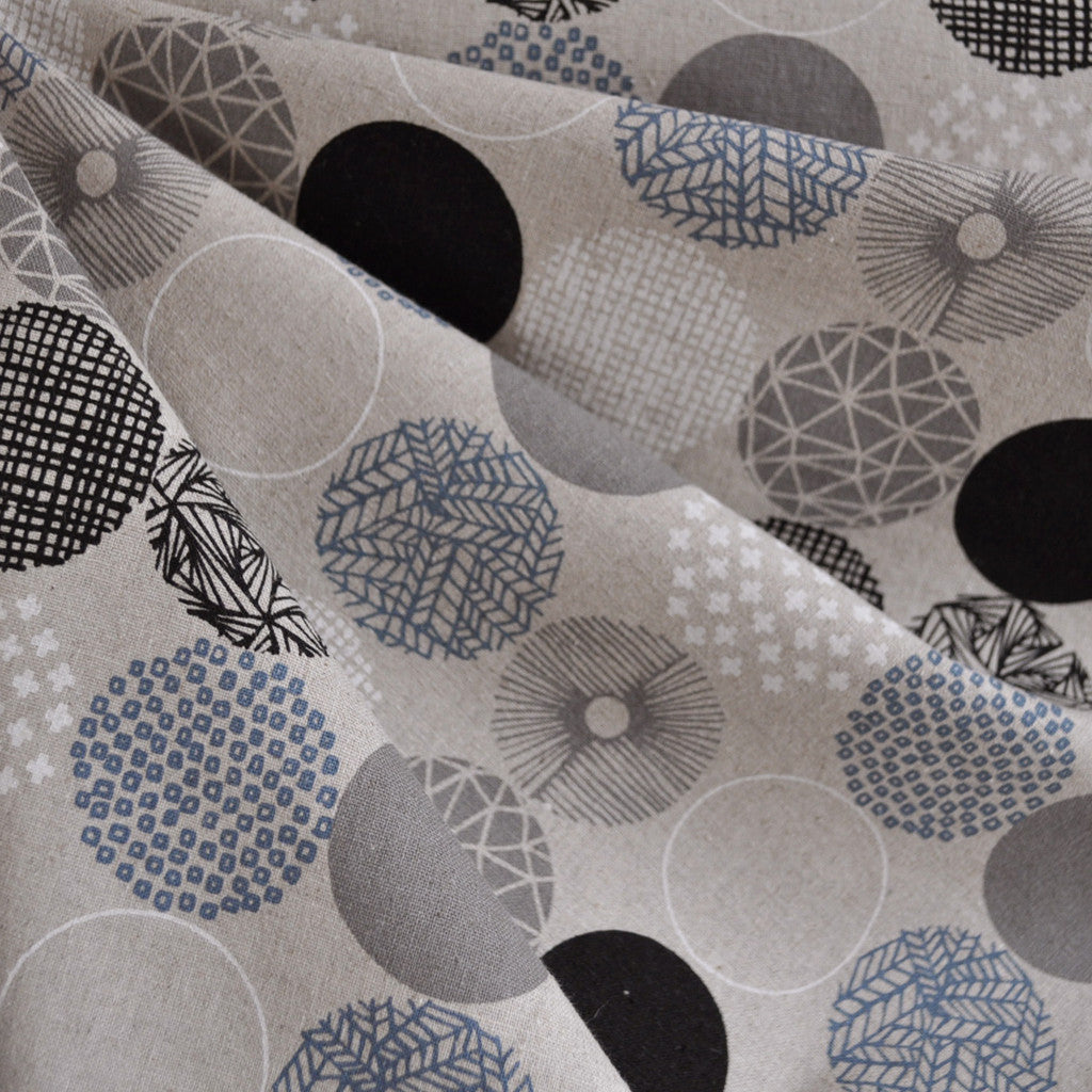 Mod Circle Japanese Linen Blend Black/Grey SY - Sold Out - Style Maker Fabrics
