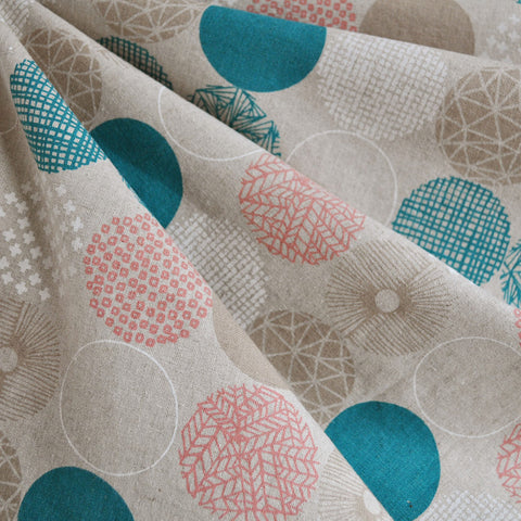 Mod Circle Japanese Linen Blend Teal/Coral