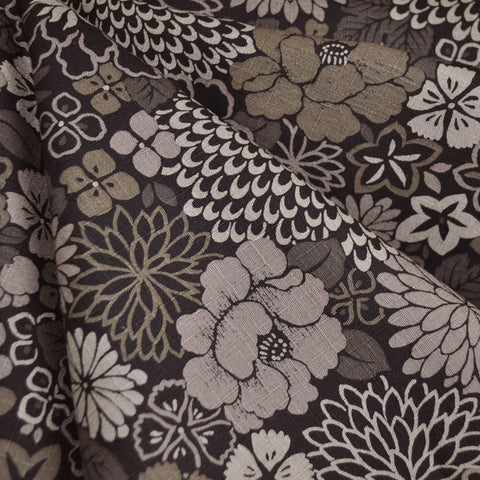 Japanese Cotton Dobby Floral Black/Taupe