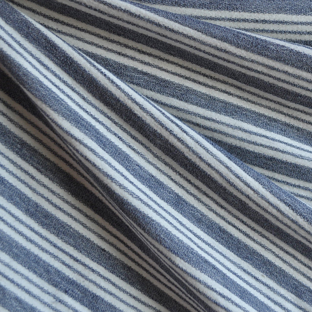 Denim Stripe French Terry Blue/Vanilla - Selvage Yard - Style Maker Fabrics