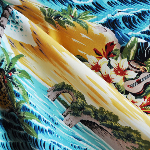 Tropical Scenic Rayon Shirting Multi