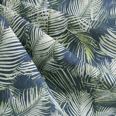 Tropical Leaves Linen Blend Navy/Green - Sold Out - Style Maker Fabrics