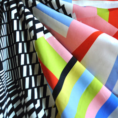 Bold Geometric Double Border Poly Faille - Sold Out - Style Maker Fabrics