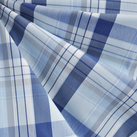 Large Plaid Stretch Shirting Blue
