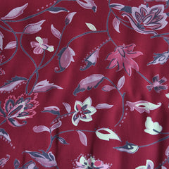 Scroll Floral Rayon Crepe Wine SY - Sold Out - Style Maker Fabrics