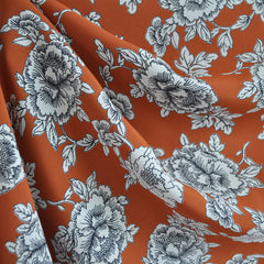 Botanical Outline Rayon Crepe Ochre SY - Sold Out - Style Maker Fabrics
