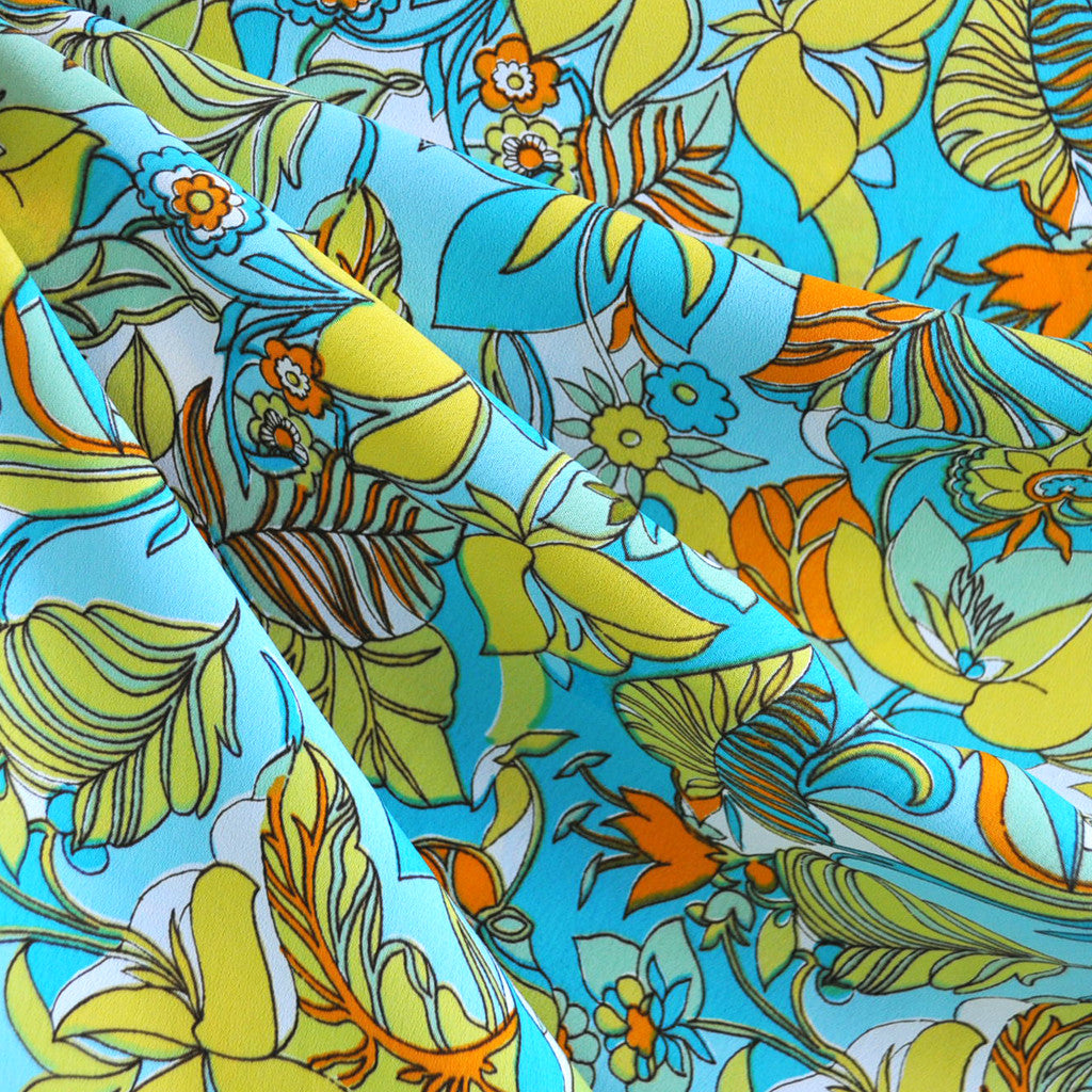Retro Sunshine Floral Print Rayon Crepe Aqua - Sold Out - Style Maker Fabrics