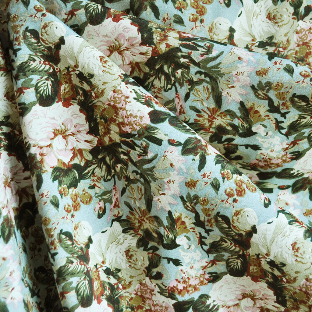 Vintage Rose Floral Rayon Challis Sage - Sold Out - Style Maker Fabrics