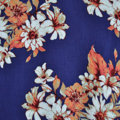 Bold Floral Rayon Crepe Navy/Coral - Sold Out - Style Maker Fabrics