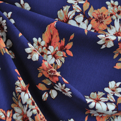 Bold Floral Rayon Crepe Navy/Coral