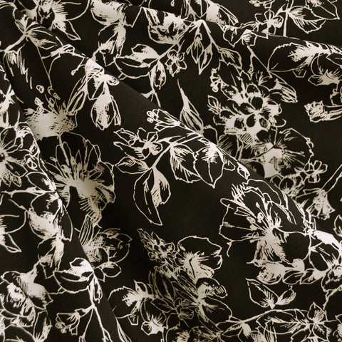 Outline Floral Rayon Faille Black/Cream