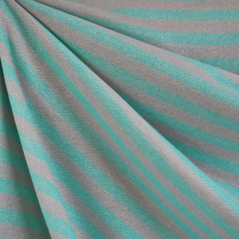 French Terry Even Stripe Sea Green/Grey