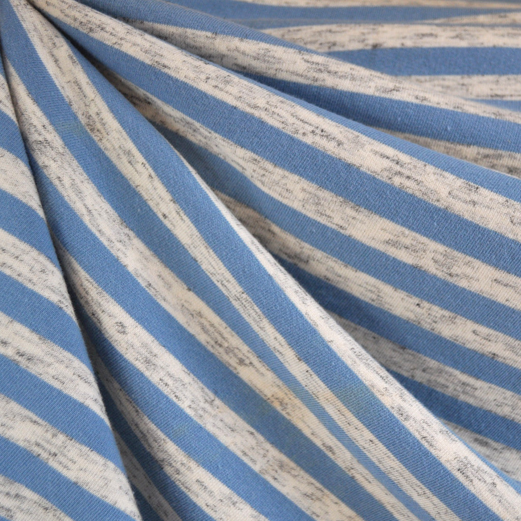 French Terry Even Stripe Denim/Heather Cream - Sold Out - Style Maker Fabrics