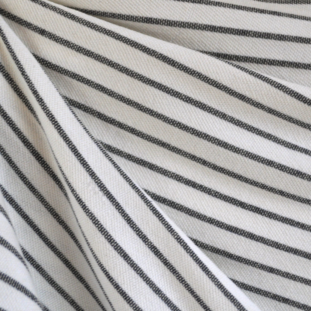 French Terry Pencil Stripe Vanilla/Indigo - Sold Out - Style Maker Fabrics