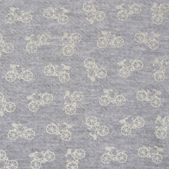 Bicycle Print French Terry Grey/Ivory - Fabric - Style Maker Fabrics