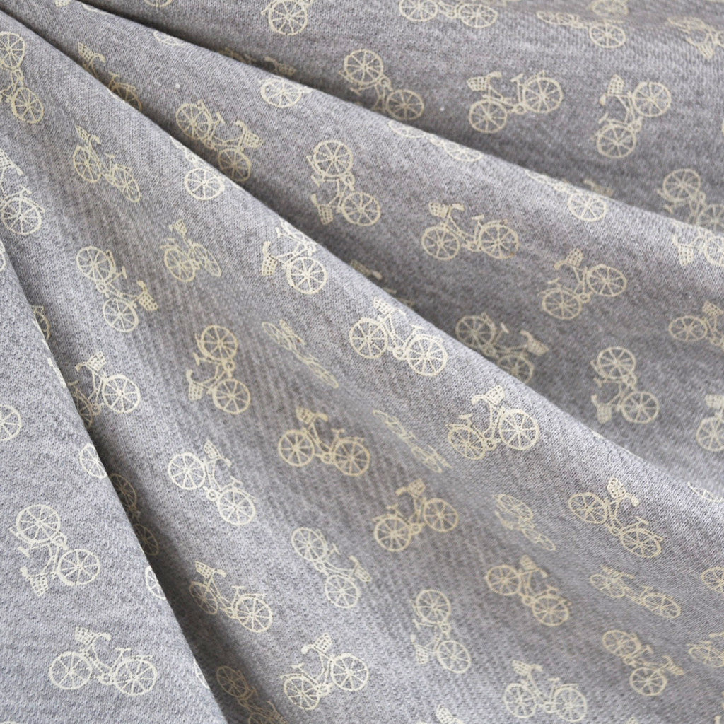 Bicycle Print French Terry Grey/Ivory - Sold Out - Style Maker Fabrics