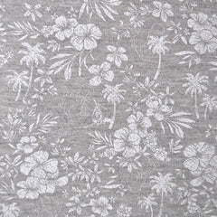 Tropical Print French Terry Grey/White - Sold Out - Style Maker Fabrics