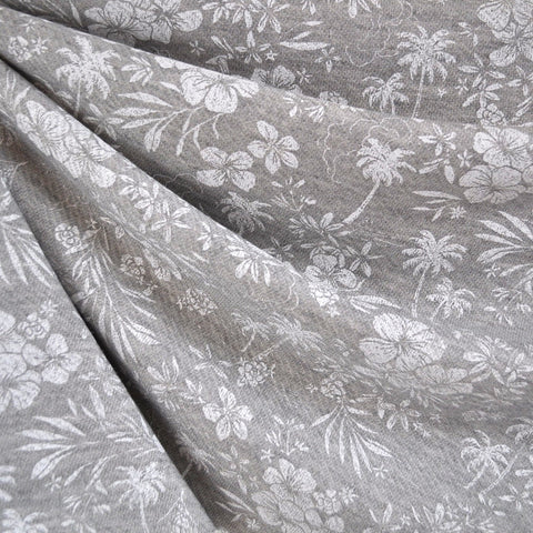 Tropical Print French Terry Grey/White
