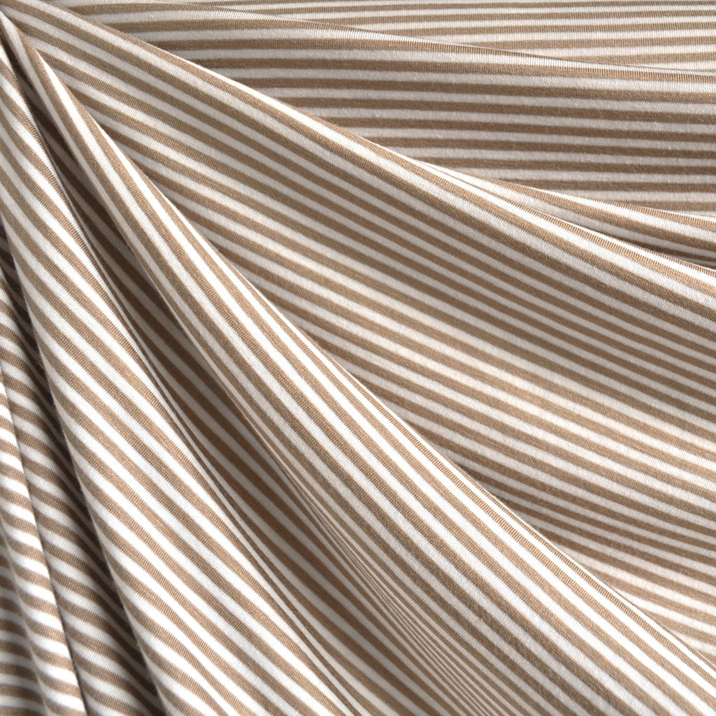 Mini Stripe Jersey Knit Tan/Vanilla - Sold Out - Style Maker Fabrics