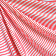 Mini Stripe Jersey Knit Coral/White SY - Sold Out - Style Maker Fabrics
