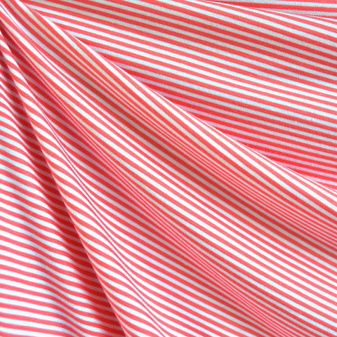 Mini Stripe Jersey Knit Coral/White