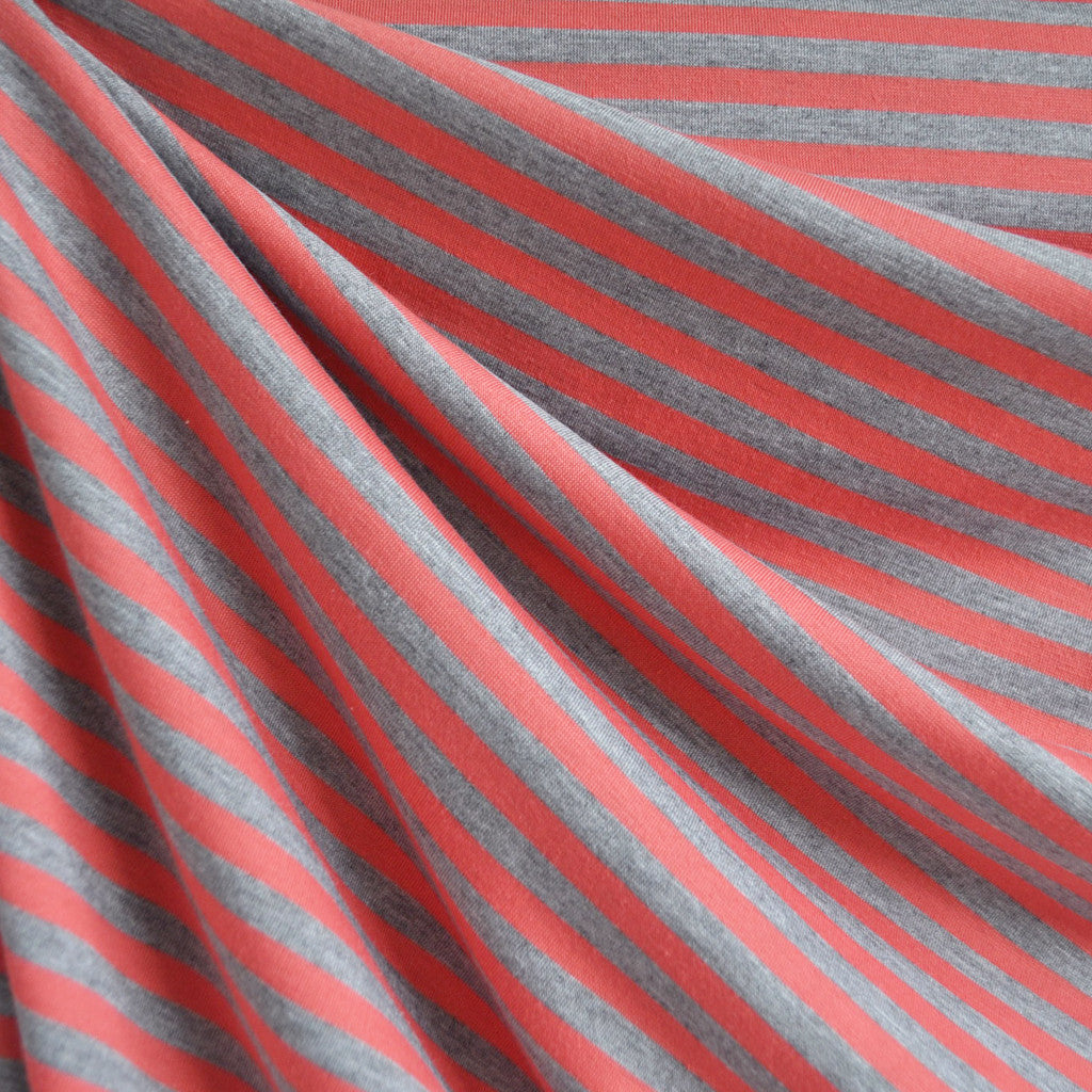 Jersey Knit Even Stripe Coral/Grey - Fabric - Style Maker Fabrics