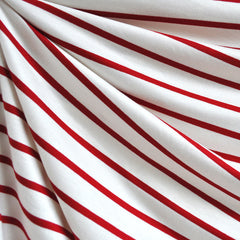 Jersey Knit Stripe Vanilla/Red - Sold Out - Style Maker Fabrics