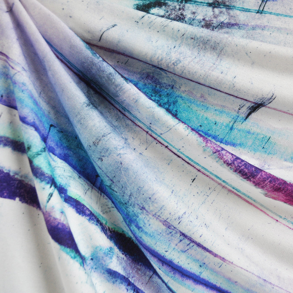 Watercolor Stripe Jersey Knit Purple/Aqua/Magenta - Sold Out - Style Maker Fabrics