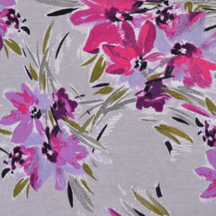 Brushstroke Floral Print Jersey Knit Magenta/Grey - Selvage Yard - Style Maker Fabrics