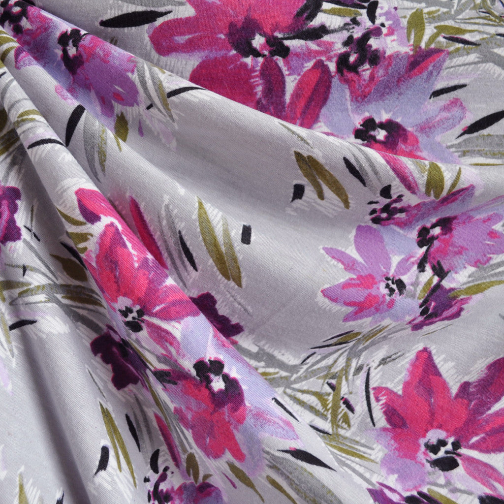Brushstroke Floral Print Jersey Knit Grey/Magenta - Sold Out - Style Maker Fabrics